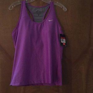 Nike Dri-Fit purple running top with built-in bra